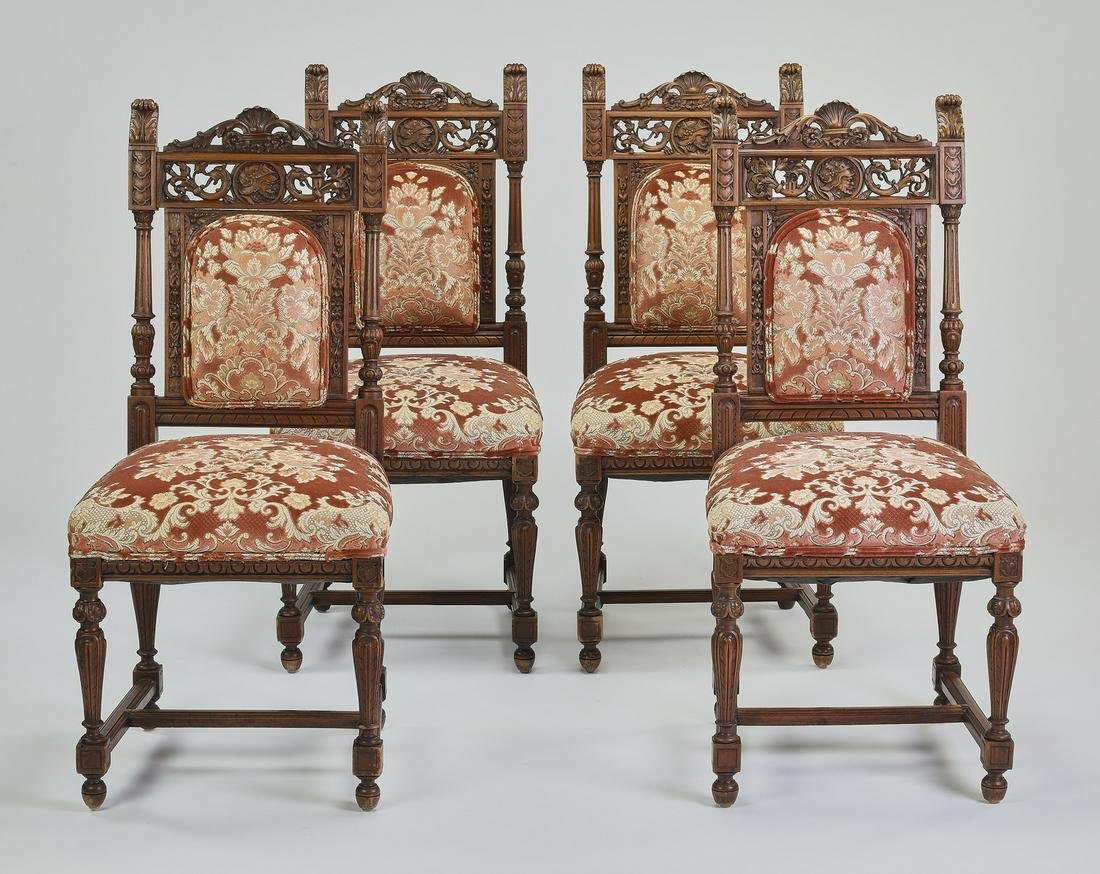(4) 19th c. French carved walnut side chairs