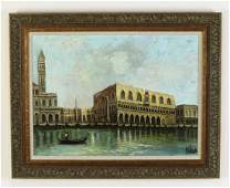 Italian Oc of Doges Palace in Venice along canal