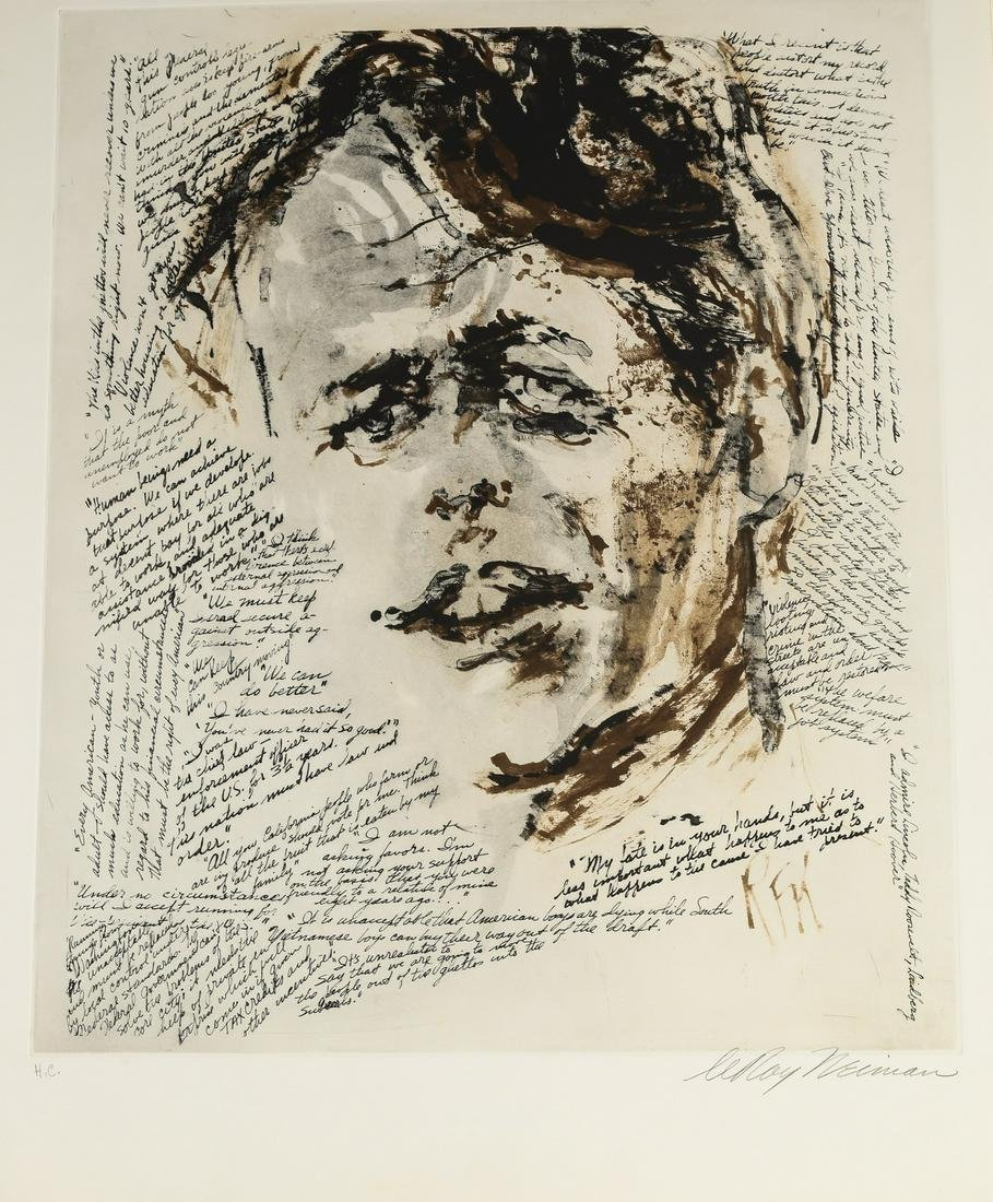 LeRoy Neiman signed etching, 'Robert Kennedy'