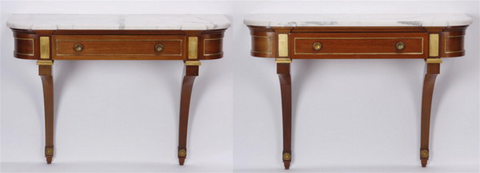 (2) Mid 20th c.Maison Jansen marble top wall consoles