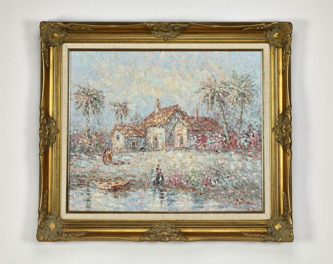 Signed T. Vance 20th c. Impressionist style landscape