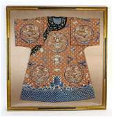 """Framed Chinese silk embroidered dragon robe, 54""""h"""