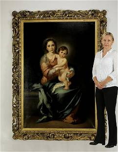 After Bartolome Murillo, O/c 'Madonna and Child'