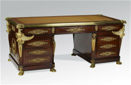19th c. French double pedestal desk w/ bronze eagles