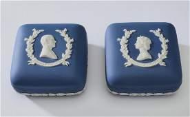 2 Wedgwood jasperware commemorative trinket boxes