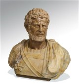 Early 20th c. Italian carved Roman style marble bust