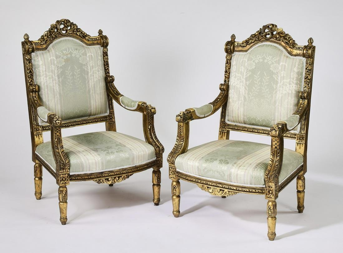 (2) Italian gilt wood fauteuils in damask