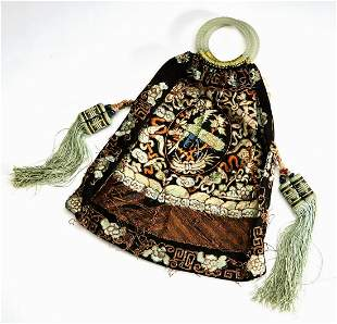 Chinese export jade and embroidered silk reticule