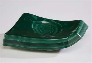 """Polished malachite specimen desk tray, 11""""w"""