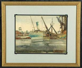 John Kelley signed W/c, Fairport, Ohio dock scene