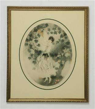 Louis Icart signed 'Miss California' etching, ca 1927