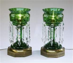 (2) Bohemian enamel decorated glass lustre lamps