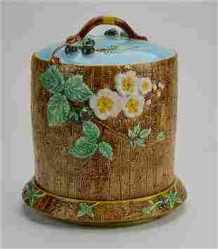 Holdcroft English majolica 'blackberry' cheese keeper