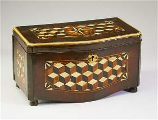19th c. English parquetry inlaid mahogany tea caddy