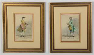 (2) 19th c. hand colored English engravings