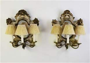 (2) Venetian carved 3-light sconces with mirrors