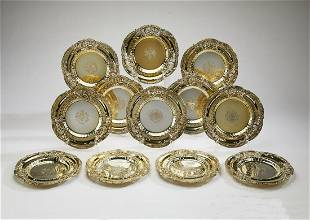 (12) Dominick & Haff gilt sterling dinner plates
