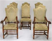8 Italian carved walnut chairs in jacquard fabric