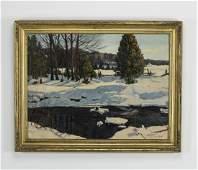 W. H. Willis signed O/c New England winter landscape