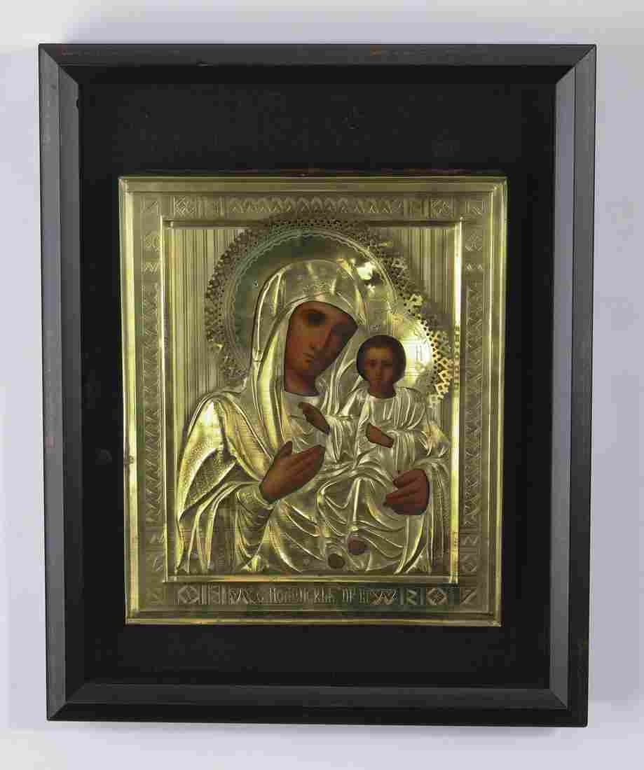 19th c. Russian Orthodox icon of the Virgin and child