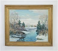 Signed Walter Emerson Baum O/c Pennsylvania winter