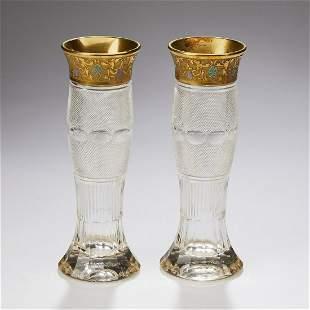 (2) Moser cut crystal vases in 'Splendid Gold'