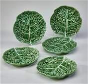 5 Portuguese majolica cabbage leaf plates