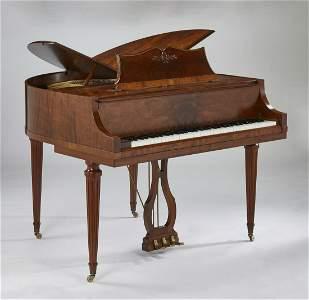Wurlitzer 'Butterfly' Model mahogany piano and bench