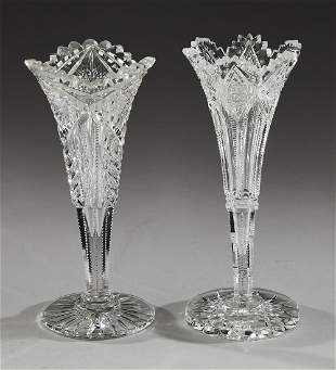2 Cut crystal trumpet vases including Hawkes