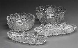 (4)American brilliant crystal and glass serving pcs