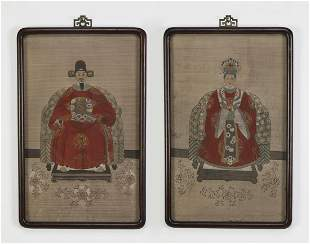 2 Chinese Ming style court or ancestor portraits