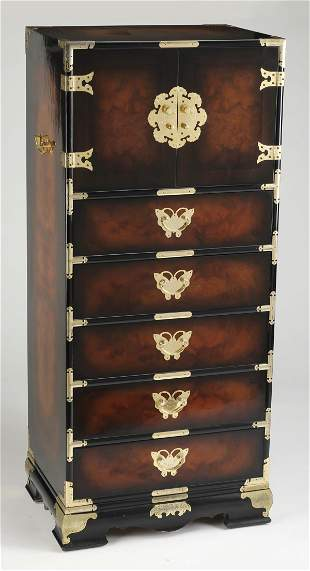 Chinoiserie style tall chest w butterfly pulls 52h