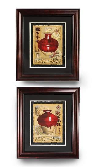 2 Asian inspired still life lithographs each 35h