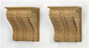 "Pair of cast composite architectural brackets, 8""h"