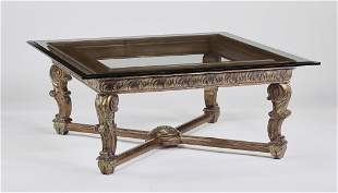 Empire style carved coffee table w beveled glass