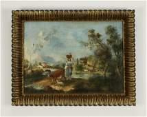 19th c Continental Oc Rococo style landscape