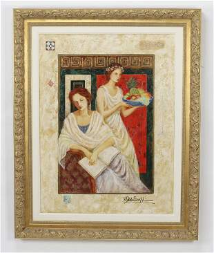 Grecian inspired mixed media of two ladies 50h