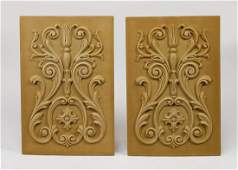 """(2) Acanthus scrollwork architectural panels, 20""""h"""
