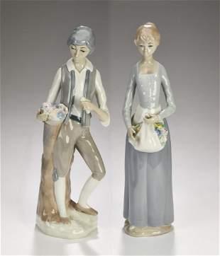 2 Casades porcelain figurines gentleman and lady