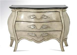 Rococo Revival style bombe chest with marble top