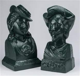2 Victorian style painted cast iron busts 16h