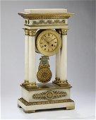 French Samuel Marti marble and bronze portico clock