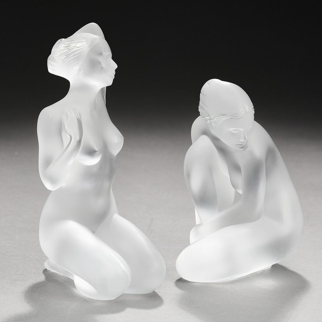 (2) Petite Lalique crystal goddess figures, marked