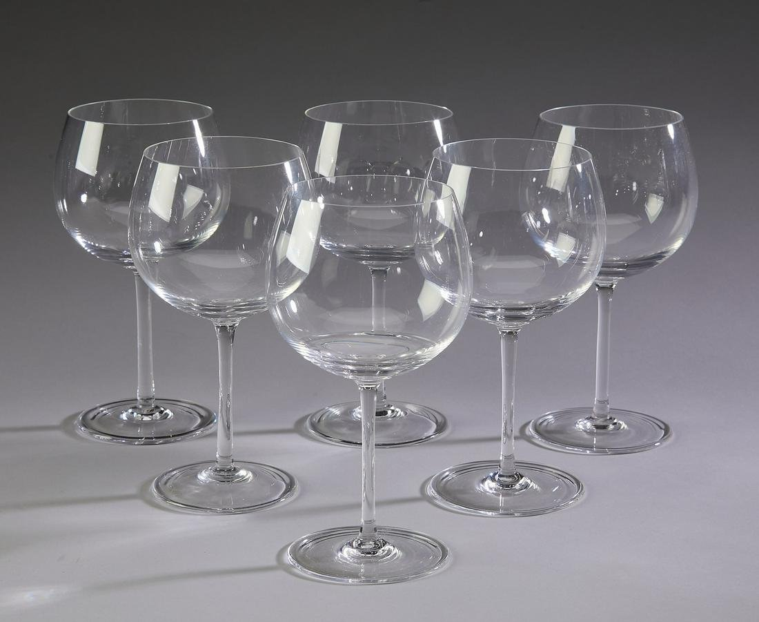 (6) Tiffany crystal red wine stems