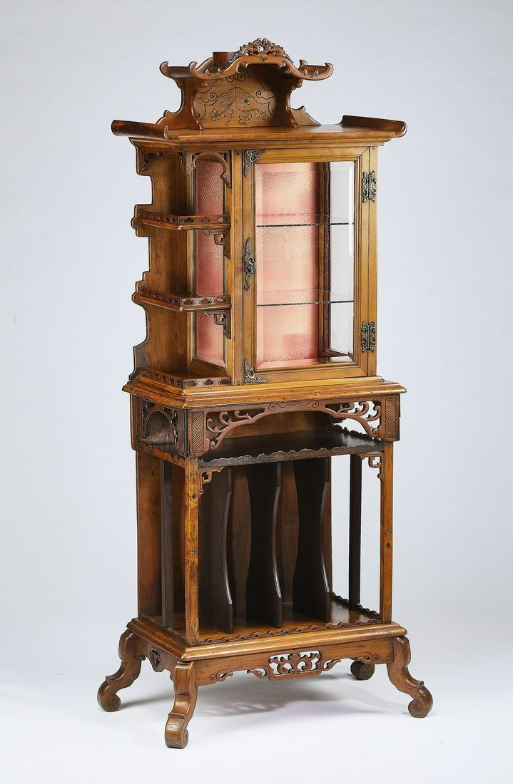 Late 19th c. Chinese Chippendale style walnut vitrine