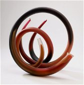 Paul Seide signed art glass, 'Radio Loops', ca 1985
