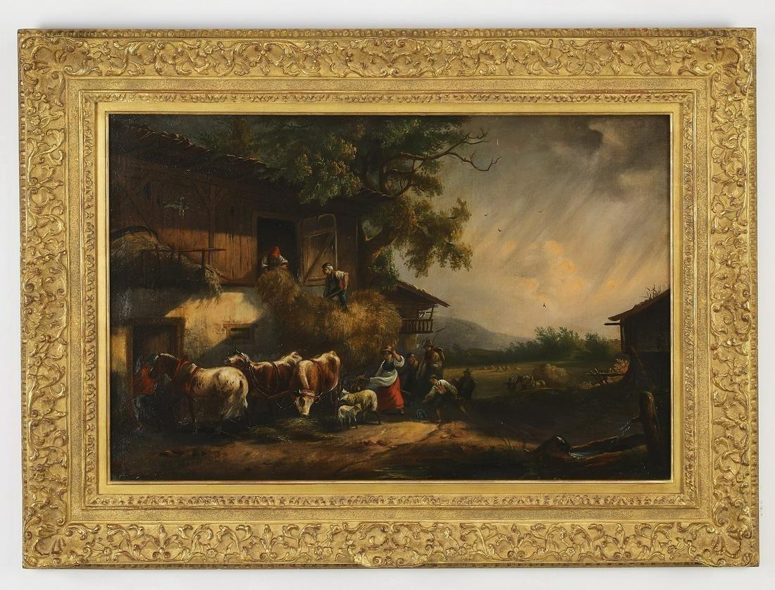 19th c. Continental O/c pastoral scene