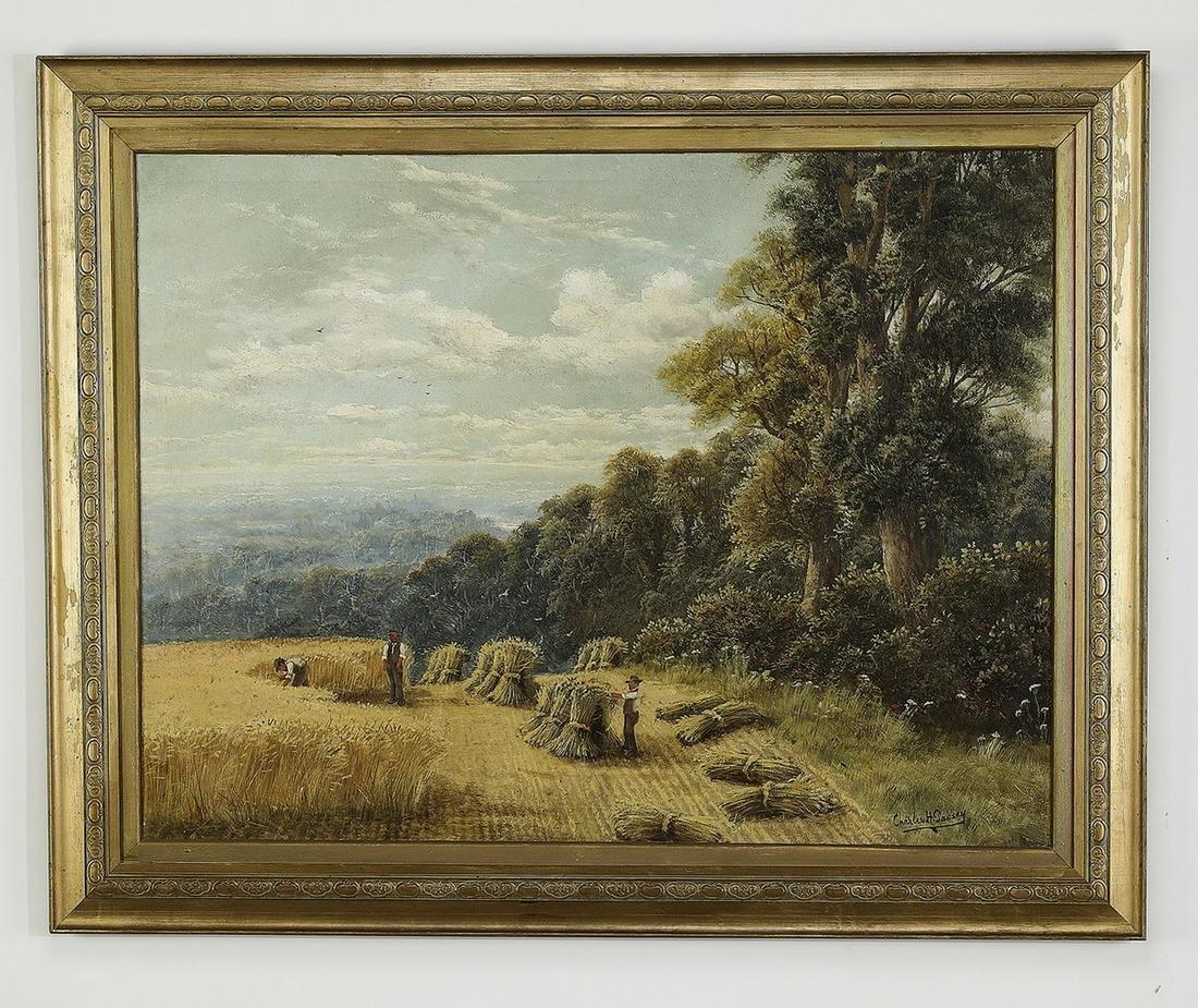 Charles Passey signed O/c, autumn harvest scene