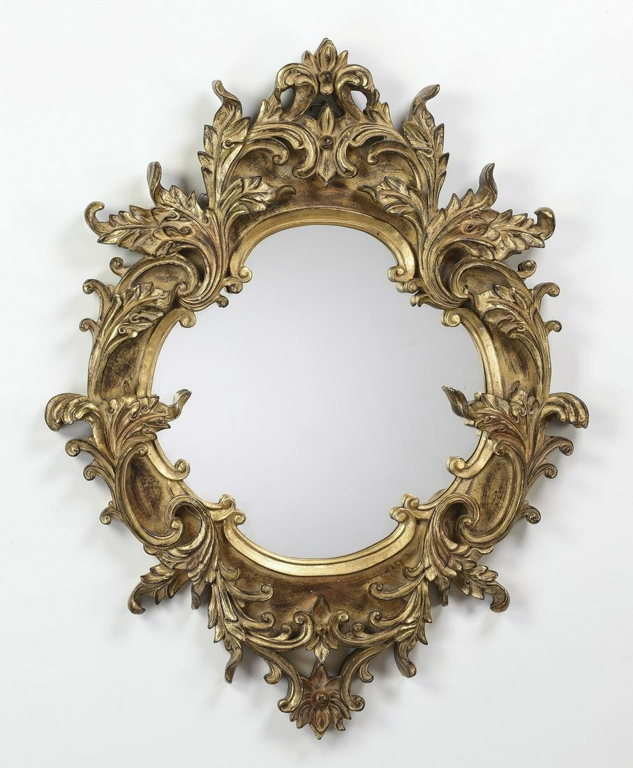 "Louis XV style gilt wood mirror, 41""h"