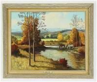Bernard P. Thomas O/b autumn landscape w/ horses
